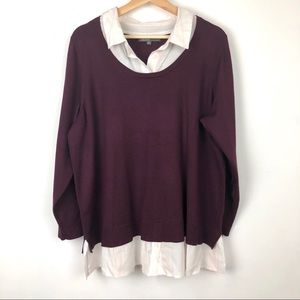 89th & Madison• Burgundy mock layered sweater